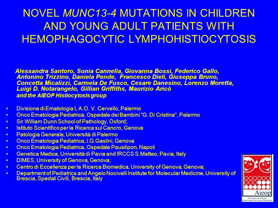 NOVEL MUNC13-4 MUTATIONS IN CHILDREN AND YOUNG ADULT PATIENTS WITH HEMOPHAGOCYTIC LYMPHOHISTIOCYTOSIS