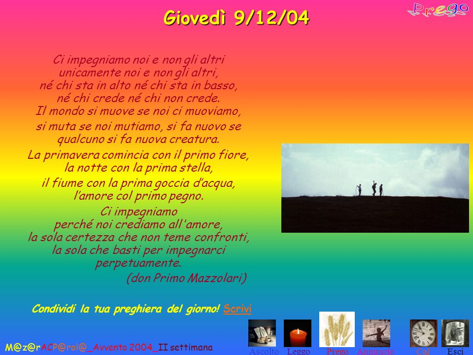 Giovedì 9/12/04 Prego.