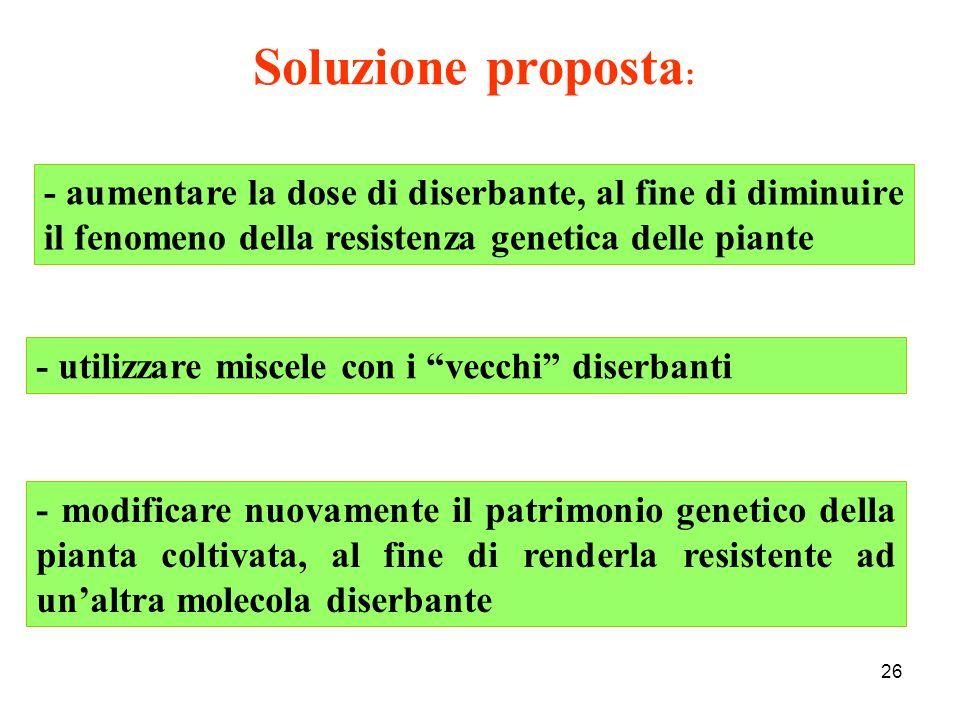 Soluzione proposta: - aumentare la dose di diserbante, al fine di diminuire il fenomeno della resistenza genetica delle piante.