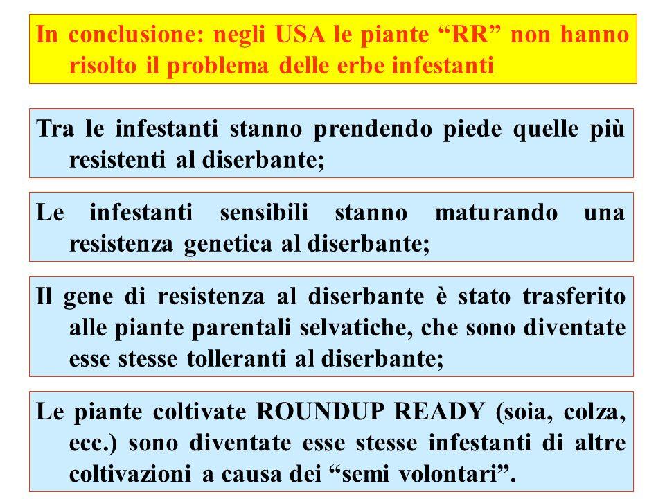 In conclusione: negli USA le piante RR non hanno risolto il problema delle erbe infestanti