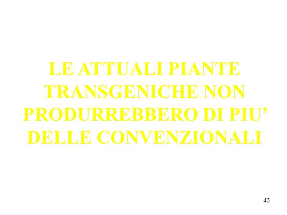 LE ATTUALI PIANTE TRANSGENICHE NON PRODURREBBERO DI PIU' DELLE CONVENZIONALI