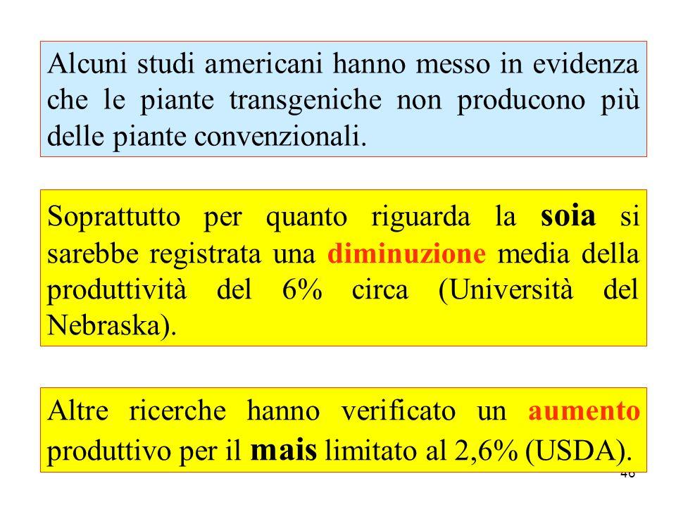 Alcuni studi americani hanno messo in evidenza che le piante transgeniche non producono più delle piante convenzionali.