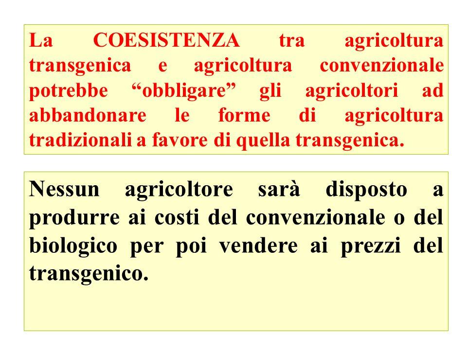 La COESISTENZA tra agricoltura transgenica e agricoltura convenzionale potrebbe obbligare gli agricoltori ad abbandonare le forme di agricoltura tradizionali a favore di quella transgenica.