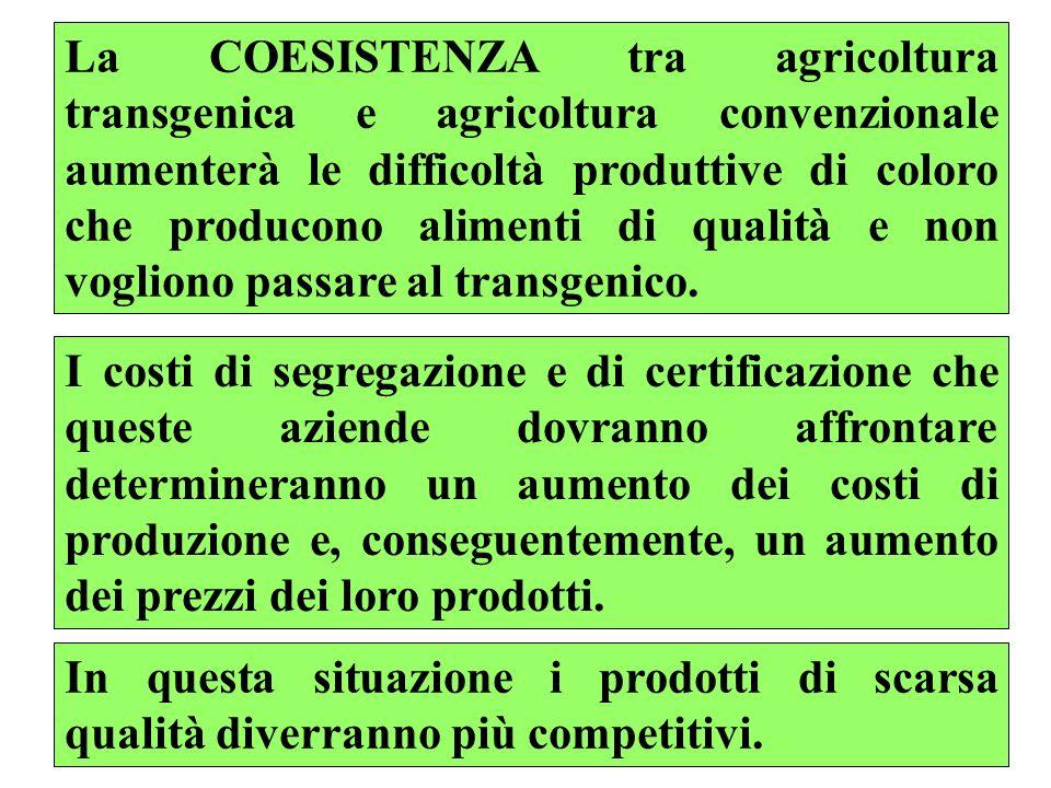 La COESISTENZA tra agricoltura transgenica e agricoltura convenzionale aumenterà le difficoltà produttive di coloro che producono alimenti di qualità e non vogliono passare al transgenico.