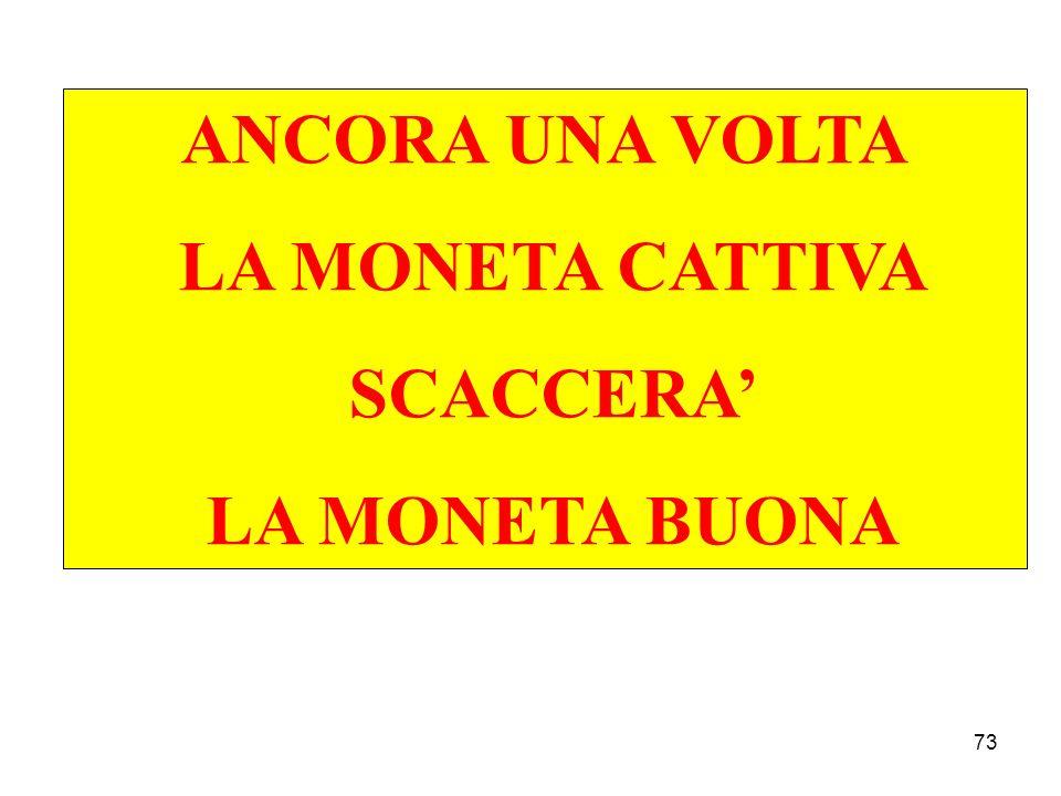 ANCORA UNA VOLTA LA MONETA CATTIVA SCACCERA' LA MONETA BUONA