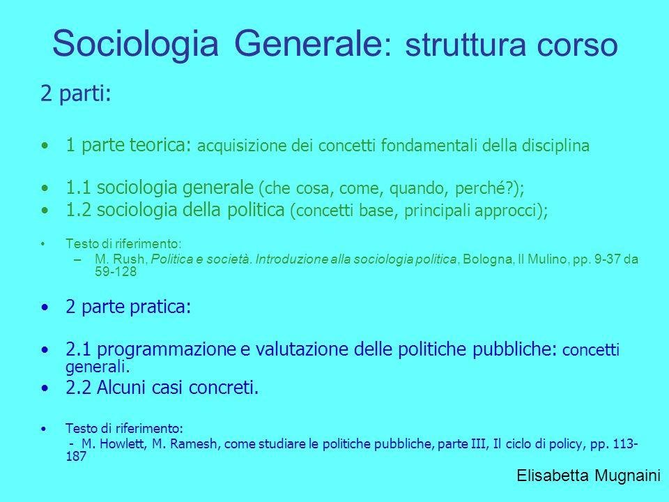 Sociologia Generale: struttura corso