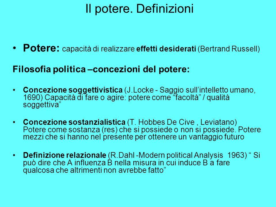 Il potere. Definizioni Potere: capacità di realizzare effetti desiderati (Bertrand Russell) Filosofia politica –concezioni del potere: