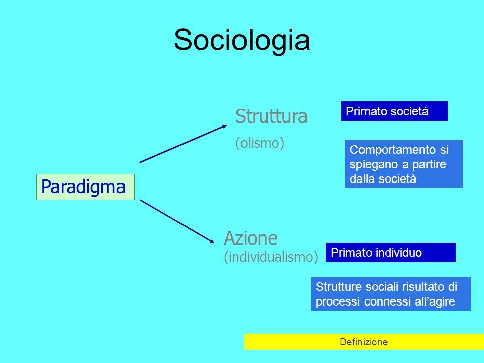 Sociologia Struttura Paradigma Azione (individualismo) (olismo)