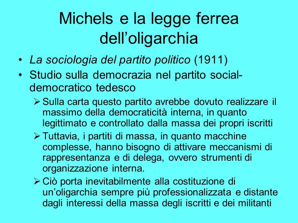 Michels e la legge ferrea dell'oligarchia