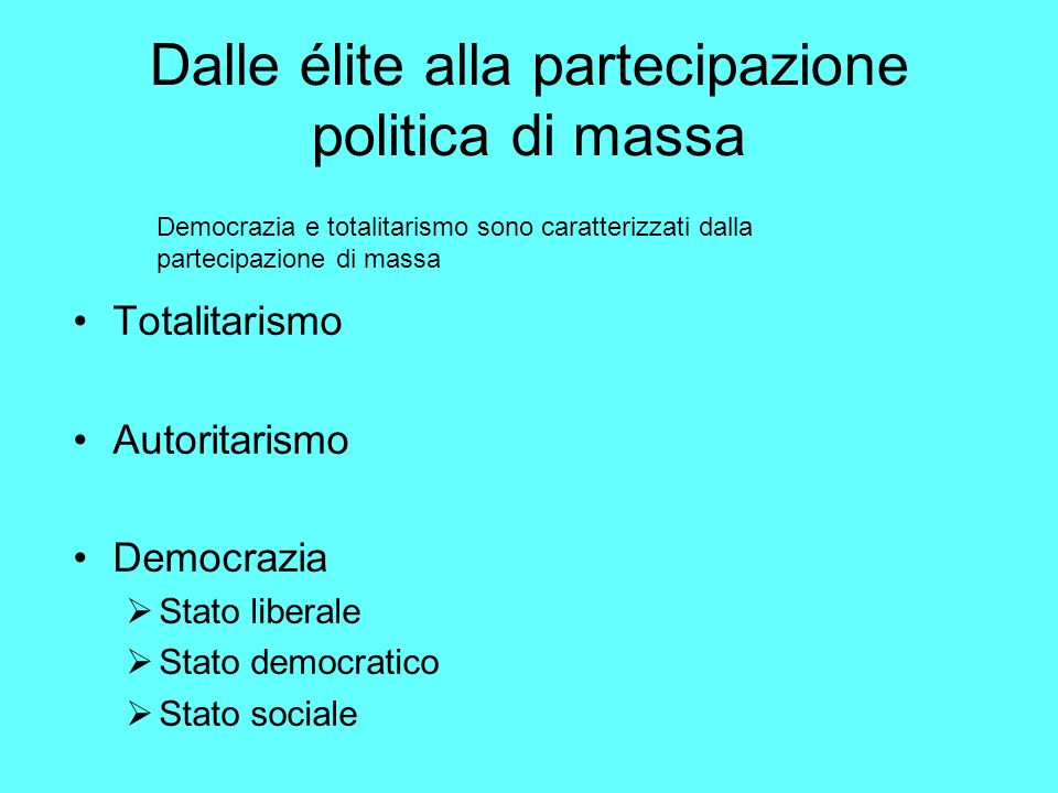 Dalle élite alla partecipazione politica di massa