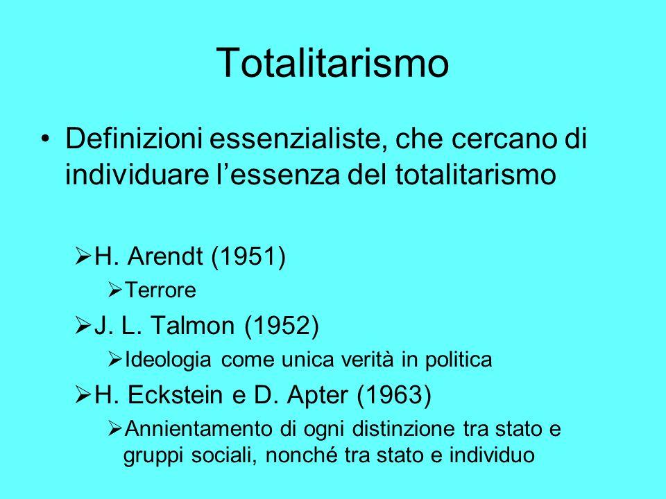 Totalitarismo Definizioni essenzialiste, che cercano di individuare l'essenza del totalitarismo. H. Arendt (1951)