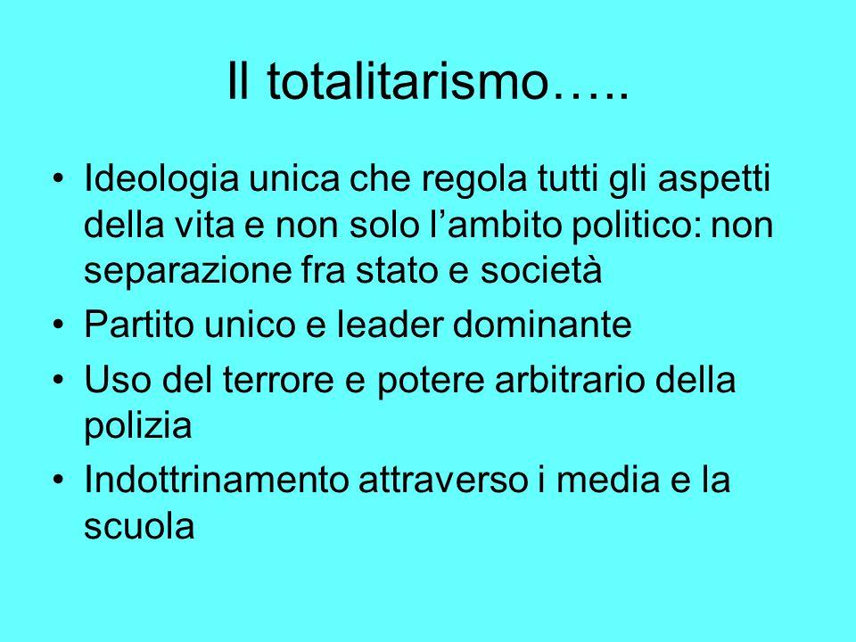 Il totalitarismo….. Ideologia unica che regola tutti gli aspetti della vita e non solo l'ambito politico: non separazione fra stato e società.