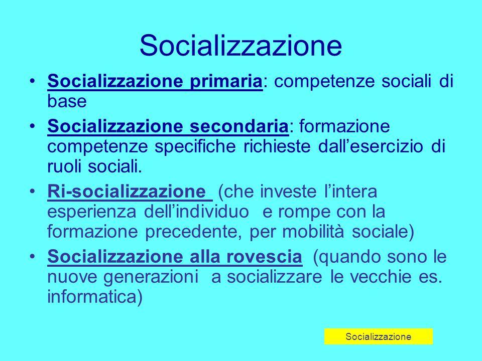 Socializzazione Socializzazione primaria: competenze sociali di base