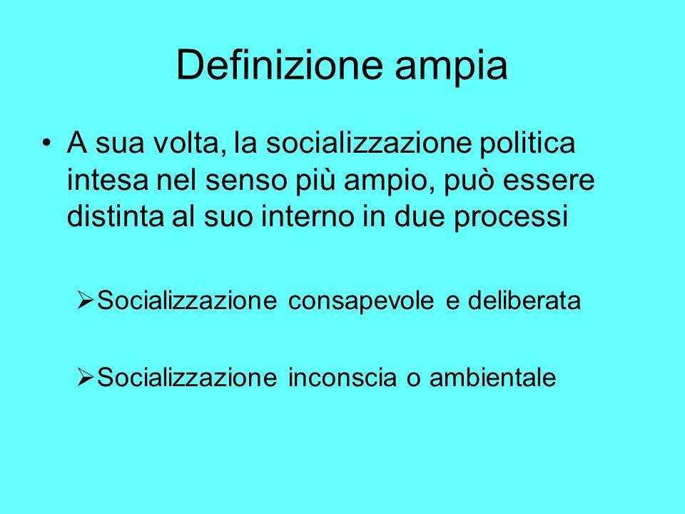 Definizione ampia A sua volta, la socializzazione politica intesa nel senso più ampio, può essere distinta al suo interno in due processi.