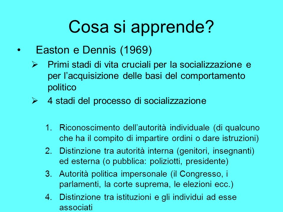 Cosa si apprende Easton e Dennis (1969)‏