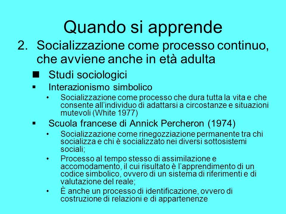 Quando si apprende Socializzazione come processo continuo, che avviene anche in età adulta. Studi sociologici.