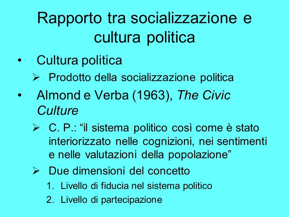Rapporto tra socializzazione e cultura politica
