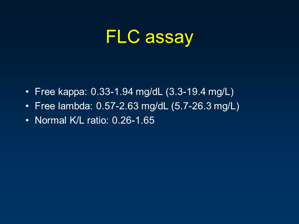 FLC assay Free kappa: 0.33-1.94 mg/dL (3.3-19.4 mg/L)