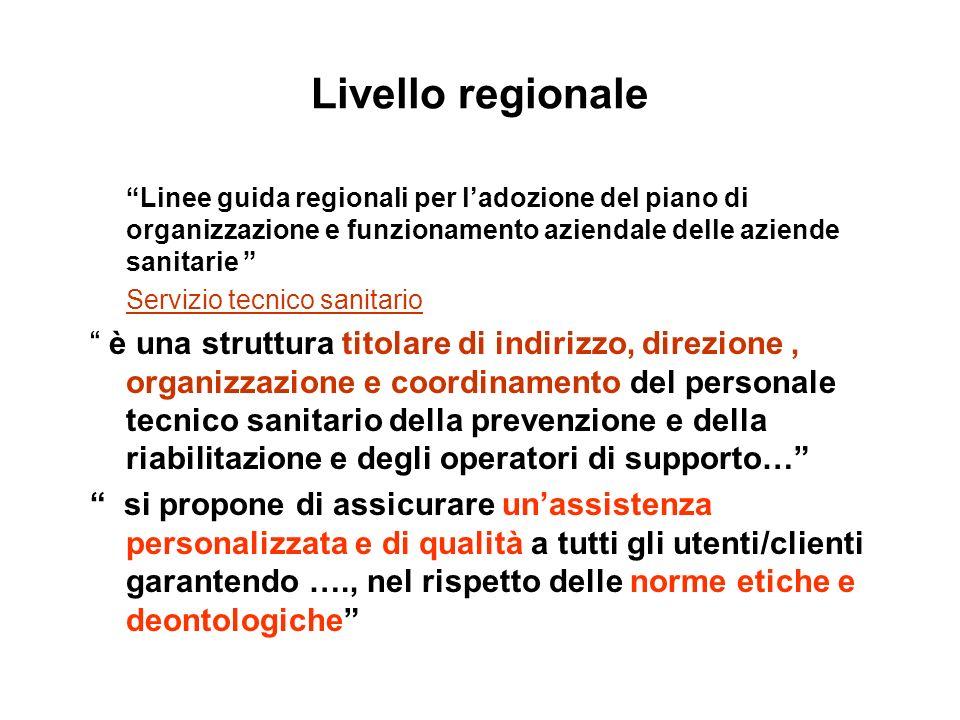 Livello regionale Linee guida regionali per l'adozione del piano di organizzazione e funzionamento aziendale delle aziende sanitarie