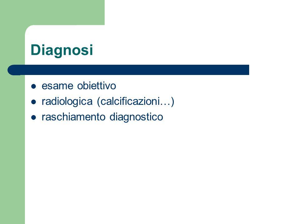 Diagnosi esame obiettivo radiologica (calcificazioni…)