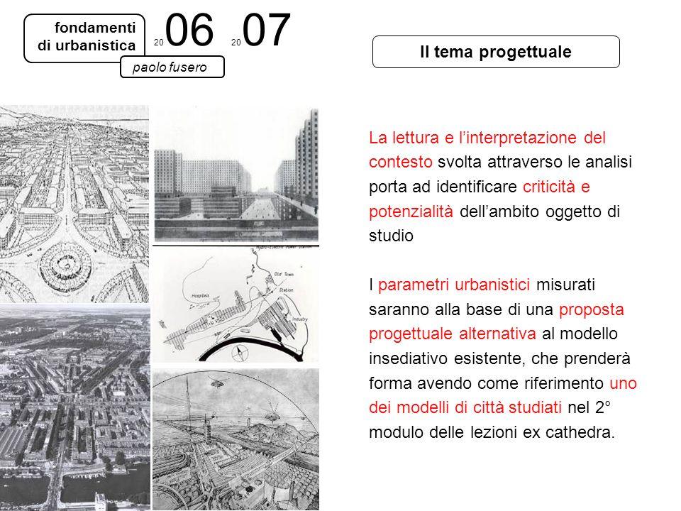 2006 2007 fondamenti. di urbanistica. Il tema progettuale. paolo fusero.