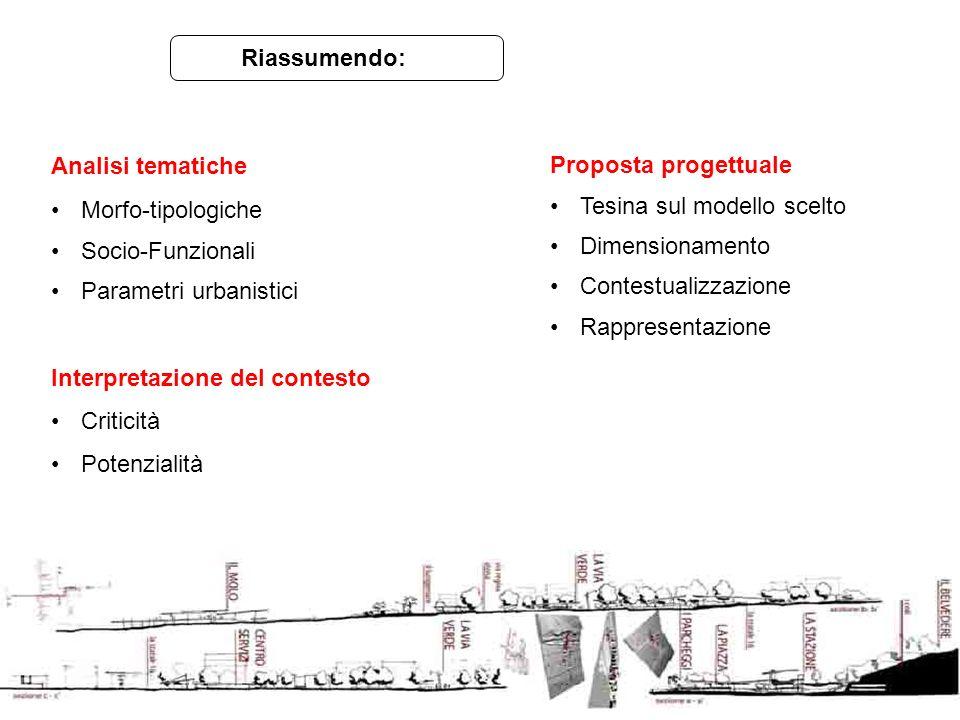 Riassumendo: Analisi tematiche. Morfo-tipologiche. Socio-Funzionali. Parametri urbanistici. Interpretazione del contesto.