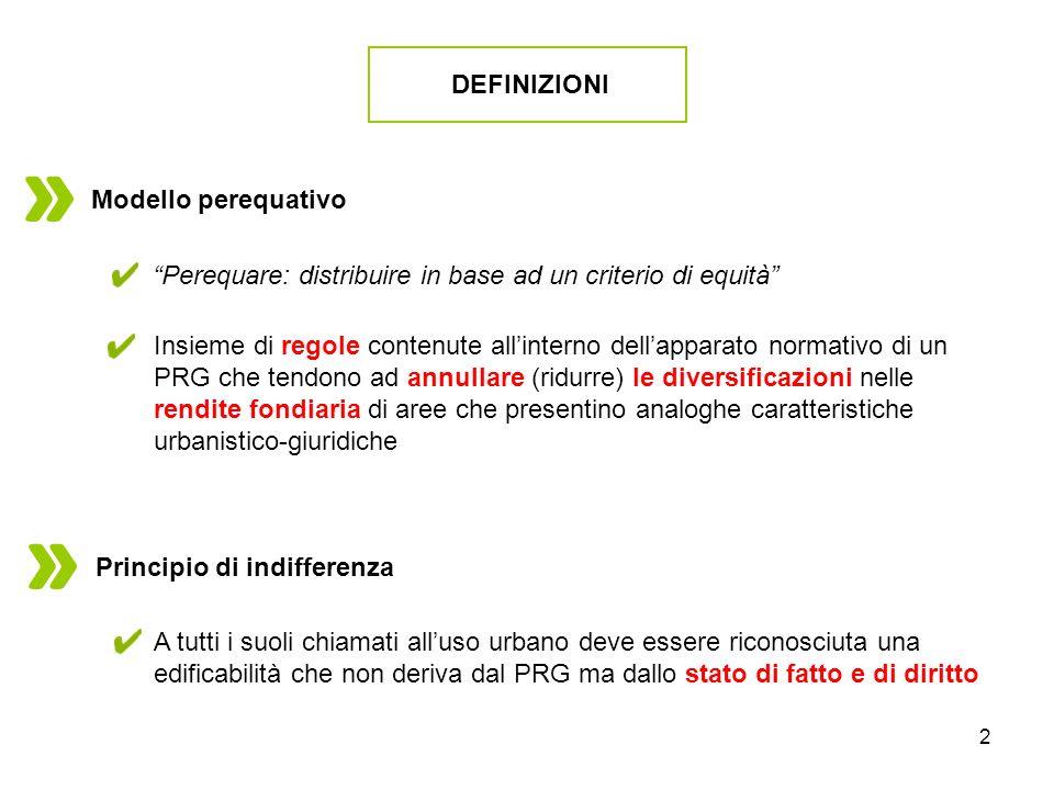 DEFINIZIONI Modello perequativo. Perequare: distribuire in base ad un criterio di equità