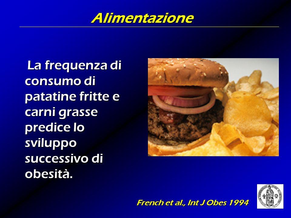 Alimentazione La frequenza di consumo di patatine fritte e carni grasse predice lo sviluppo successivo di obesità.