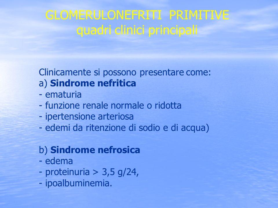GLOMERULONEFRITI PRIMITIVE quadri clinici principali