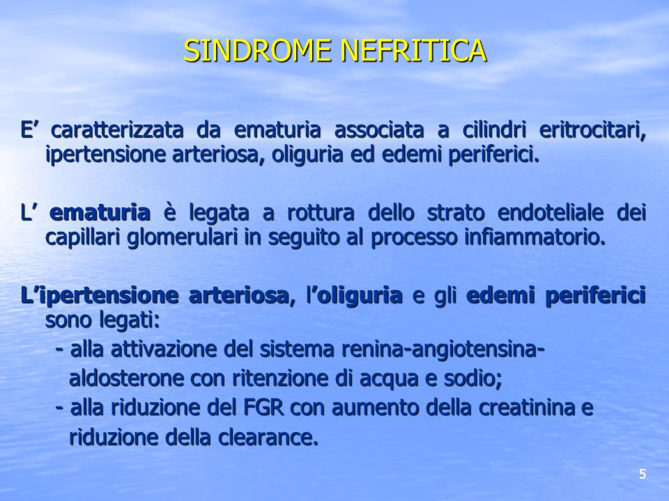 SINDROME NEFRITICA E' caratterizzata da ematuria associata a cilindri eritrocitari, ipertensione arteriosa, oliguria ed edemi periferici.