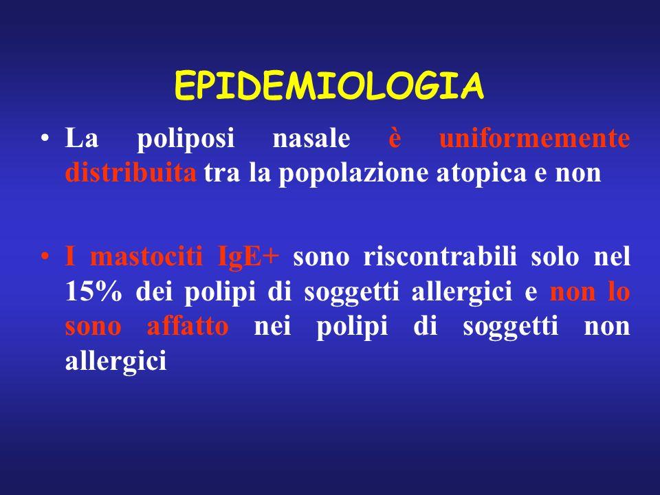 EPIDEMIOLOGIA La poliposi nasale è uniformemente distribuita tra la popolazione atopica e non.