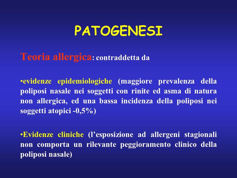 PATOGENESI Teoria allergica: contraddetta da
