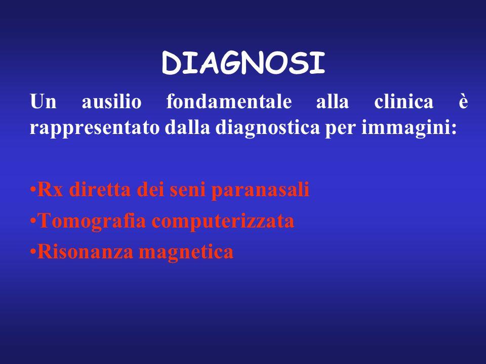 DIAGNOSI Un ausilio fondamentale alla clinica è rappresentato dalla diagnostica per immagini: Rx diretta dei seni paranasali.