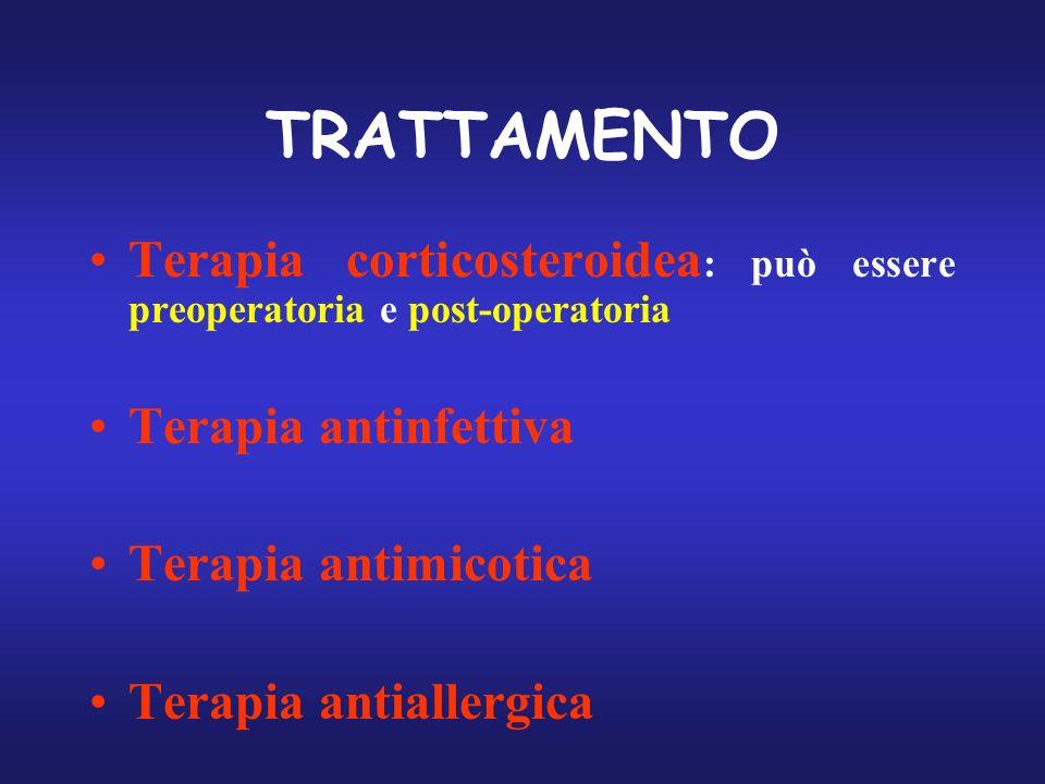 TRATTAMENTO Terapia corticosteroidea: può essere preoperatoria e post-operatoria. Terapia antinfettiva.