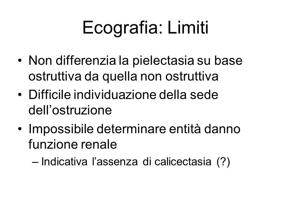 Ecografia: Limiti Non differenzia la pielectasia su base ostruttiva da quella non ostruttiva. Difficile individuazione della sede dell'ostruzione.