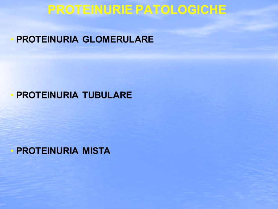PROTEINURIE PATOLOGICHE