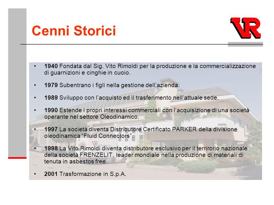 Cenni Storici 1940 Fondata dal Sig. Vito Rimoldi per la produzione e la commercializzazione di guarnizioni e cinghie in cuoio.
