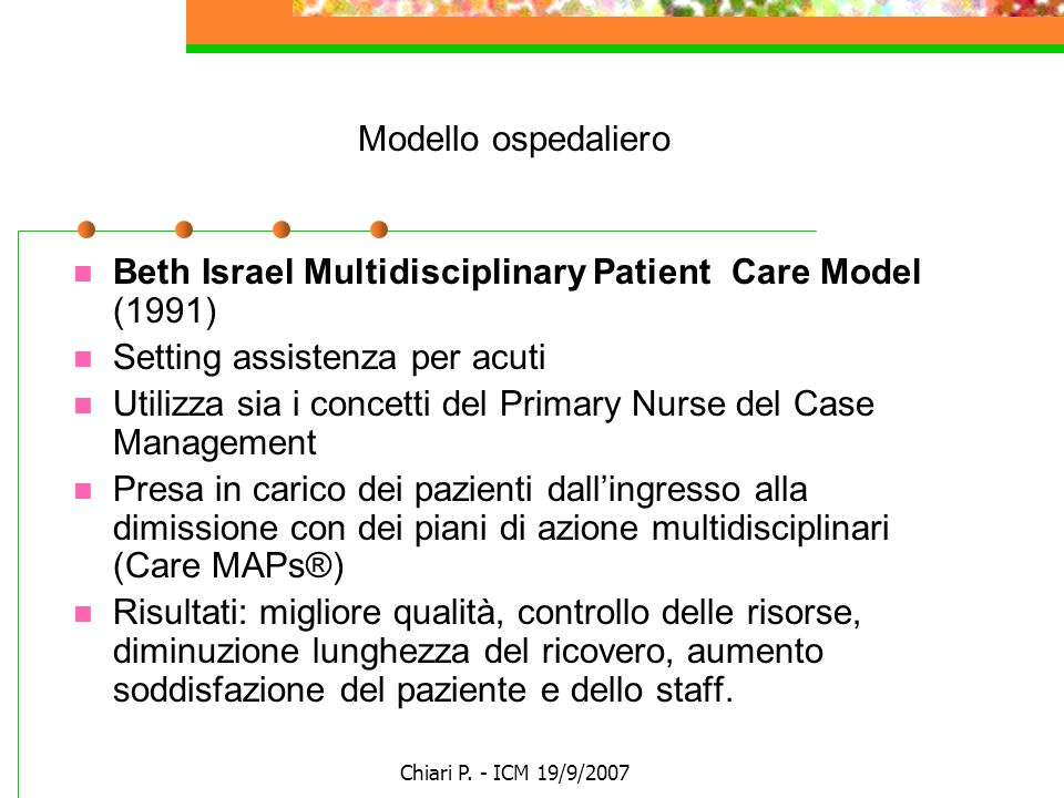 Beth Israel Multidisciplinary Patient Care Model (1991)