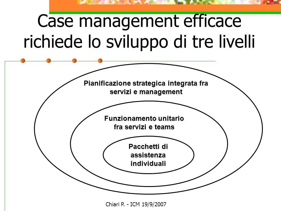 Case management efficace richiede lo sviluppo di tre livelli