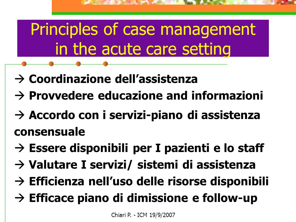 Principles of case management in the acute care setting