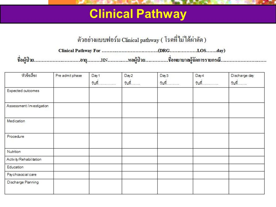 Clinical Pathway Chiari P. - ICM 19/9/2007