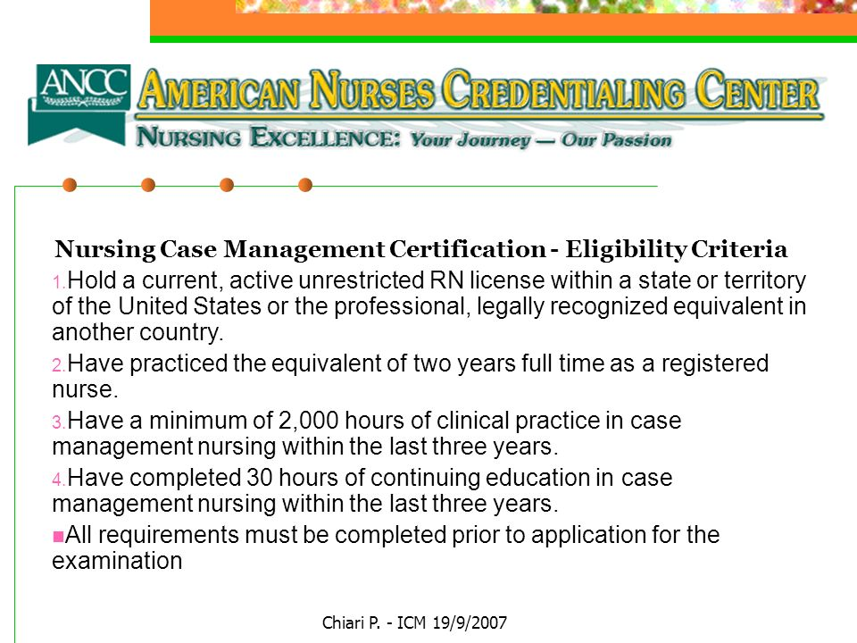 Nursing Case Management Certification - Eligibility Criteria