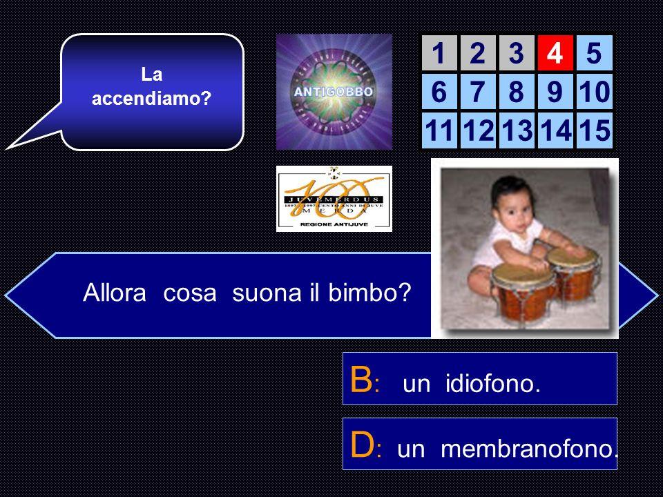 B: un idiofono. D: un membranofono. 1 2 3 4 5 6 7 8 9 10 11 12 13 14