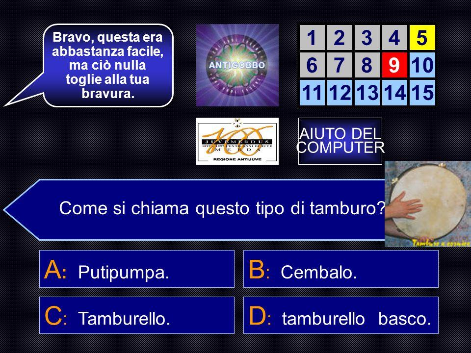 A: Putipumpa. B: Cembalo. C: Tamburello. D: tamburello basco. 1 2 3 4
