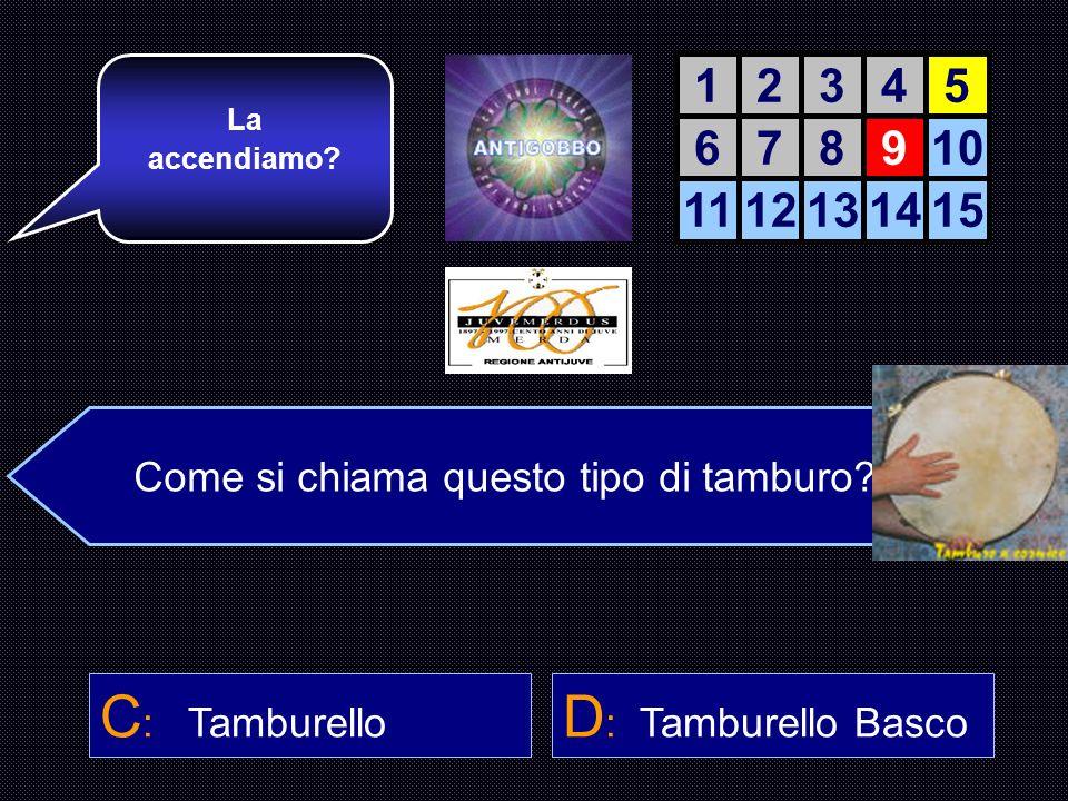 C: Tamburello D: Tamburello Basco 1 2 3 4 5 6 7 8 9 10 11 12 13 14 15