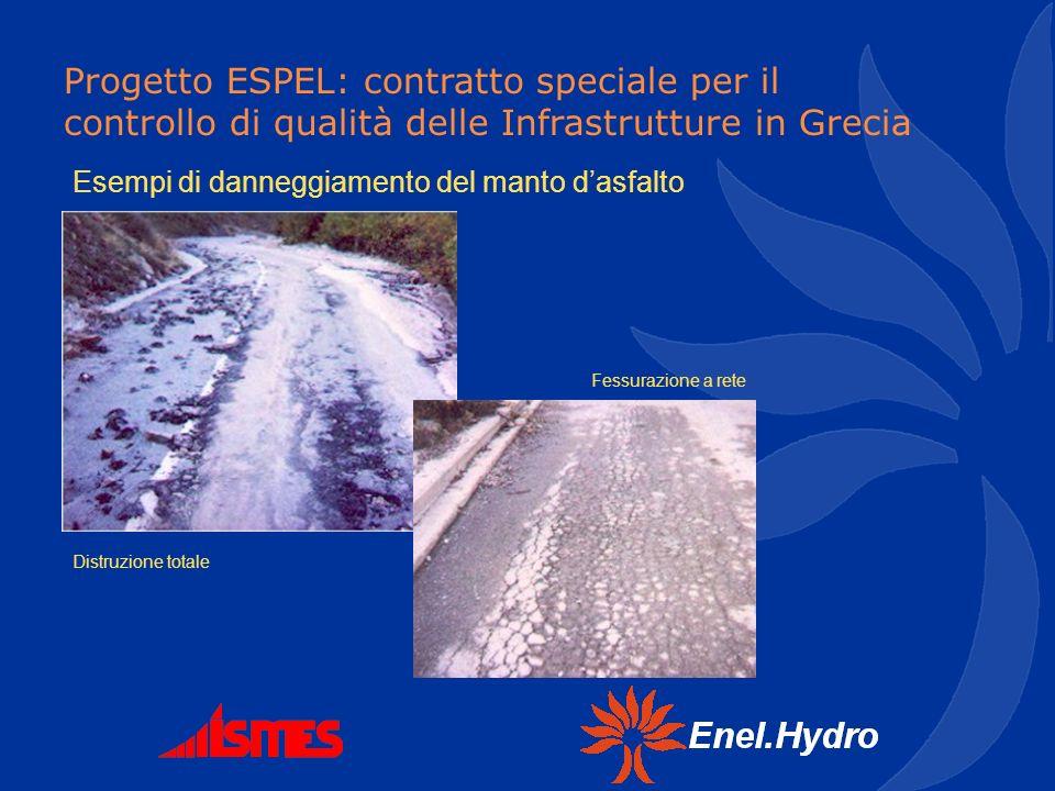 Esempi di danneggiamento del manto d'asfalto