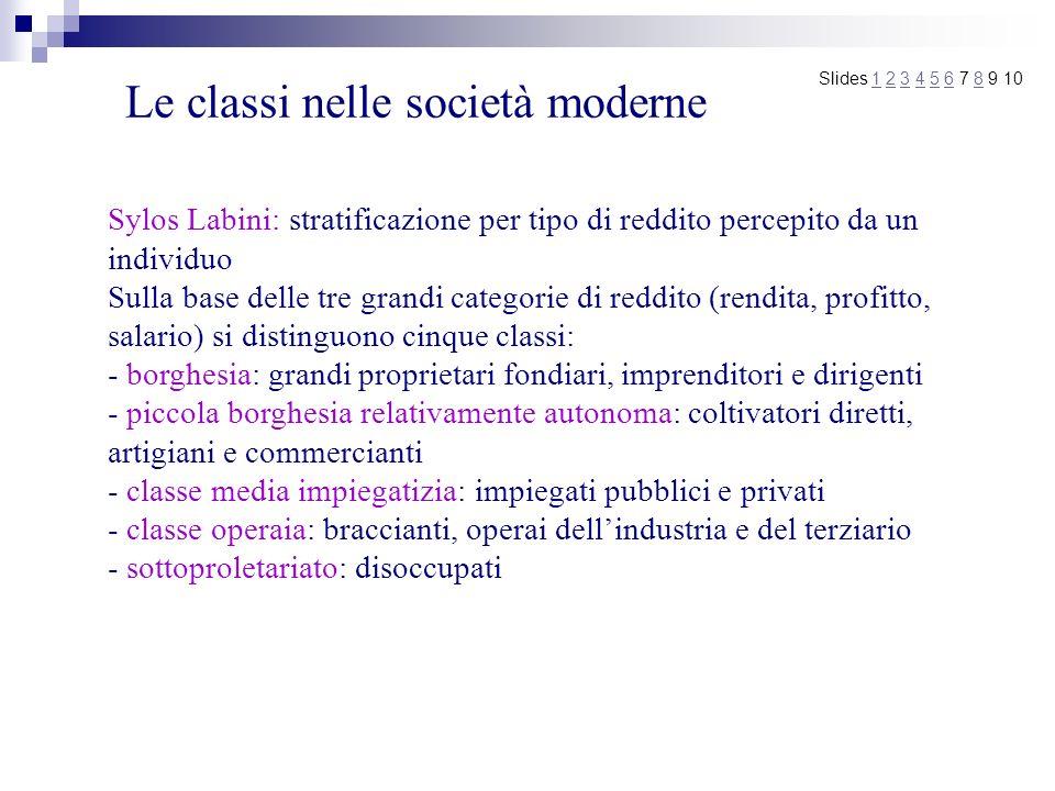 Le classi nelle società moderne