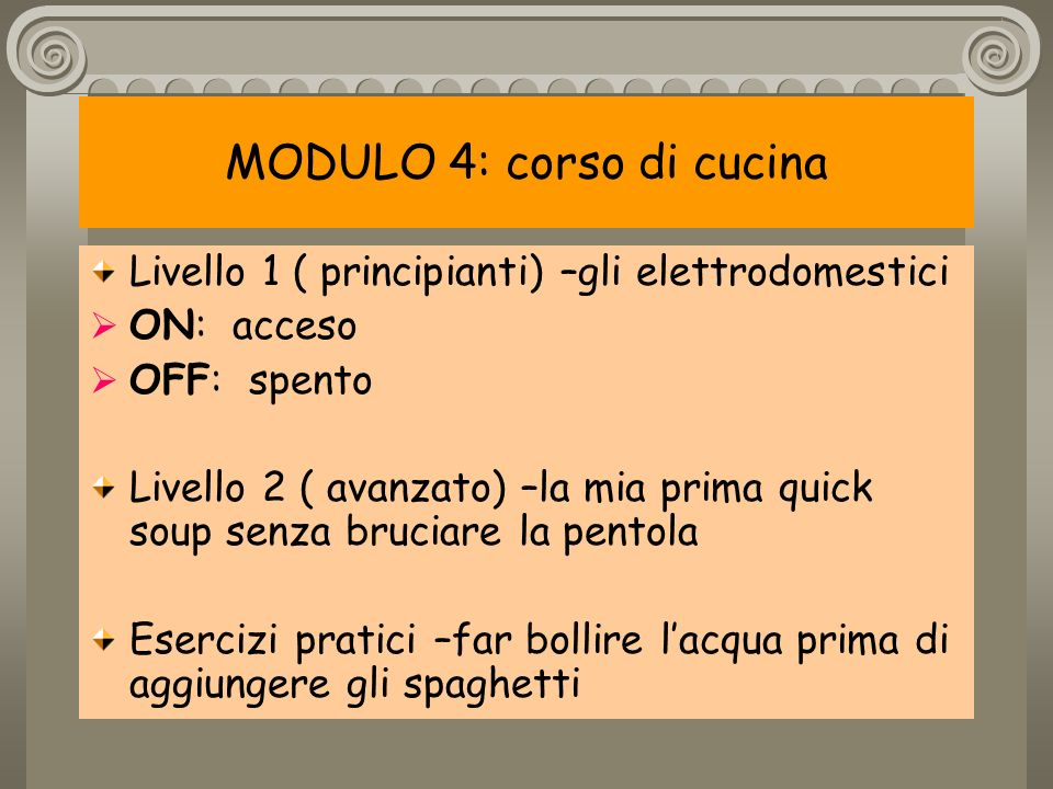 MODULO 4: corso di cucina