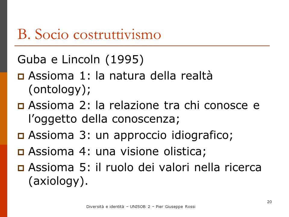 B. Socio costruttivismo