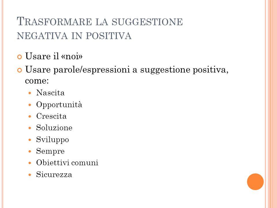 Trasformare la suggestione negativa in positiva